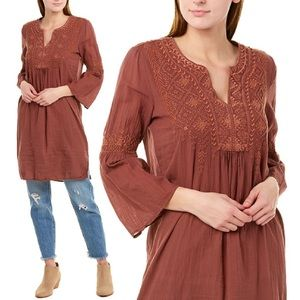 Johnny Was Megan Flare Sleeves Tunic Coco Maroon S